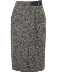Belstaff - Pleated Wool-blend Tweed Wrap Skirt - Lyst