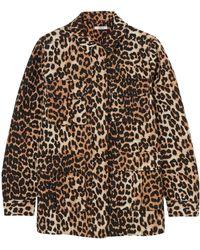 Ganni - Woman Camberwell Leopard-print Linen And Cotton-blend Canvas Jacket Animal Print - Lyst