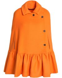 MSGM - Woman Double-breasted Wool-blend Cape Orange - Lyst