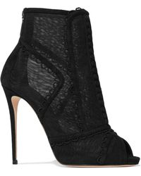 Dolce & Gabbana - Embroidered Mesh And Suede Peep-toe Ankle Boots - Lyst