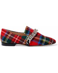 Christopher Kane - Chain-trimmed Checked Twill Slippers - Lyst