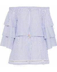 Nicholas - Off-the-shoulder Striped Cotton-poplin Playsuit - Lyst