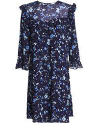 Claudie Pierlot - Ruffled Floral-print Crepe Mini Dress - Lyst