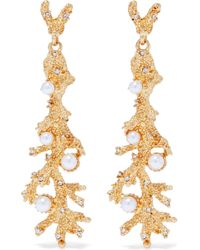 Kenneth Jay Lane - Gold-tone, Crystal And Faux Pearl Earrings - Lyst