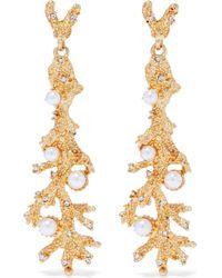 Kenneth Jay Lane - Glass Pearl Crystal Branch Drop Earrings - Lyst