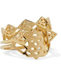 Noir Jewelry - Aztec Set Of Three Gold-tone Rings - Lyst