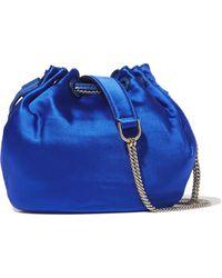 Diane von Furstenberg - Love Power Mini Leather-trimmed Satin Bucket Bag - Lyst