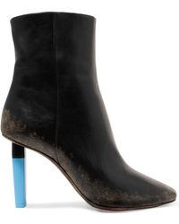 Vetements - Distressed Leather Ankle Boots - Lyst