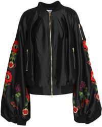 Stella Jean - Embroidered Satin Bomber Jacket - Lyst