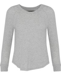 Enza Costa - Woman Mélange Cotton And Cashmere-blend Top Stone - Lyst
