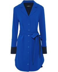 Badgley Mischka - Belted Two-tone Cady Shirt Dress Royal Blue - Lyst