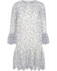Ganni - Gathered Printed Broderie Anglaise Mini Dress - Lyst