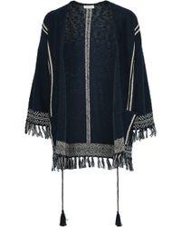 Soft Joie - Woman Ayana Fringe-trimmed Cotton-blend Jacket Navy - Lyst