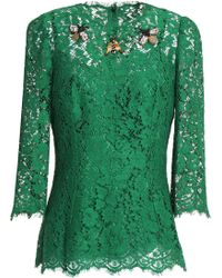 Dolce & Gabbana - Embellished Corded Lace Top - Lyst