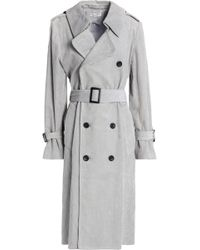 Current/Elliott - Woman Belted Corduroy Trench Coat Grey Size 3 - Lyst