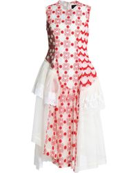 Simone Rocha - Panelled Lace, Embroidered Tulle And Printed Chiffon Midi Dress - Lyst