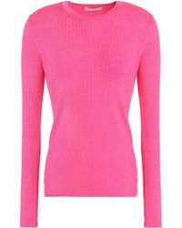 Michael Kors - Ribbed Cashmere Jumper Bright Pink - Lyst