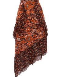 Anna Sui - Printed Fil Coupé And Silk-chiffon Skirt - Lyst