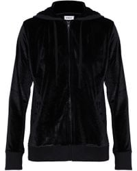 DKNY - Woman Metallic Velour Hooded Pajama Top Black - Lyst