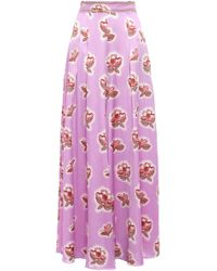 Peter Pilotto - Floral-print Hammered Silk-satin Wide-leg Trousers Lavender - Lyst