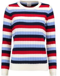 Madeleine Thompson - Amber Striped Wool And Cashmere-blend Ribbed-knit Jumper - Lyst
