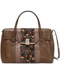 Valentino - Printed Calf Hair-paneled Leather Shoulder Bag - Lyst