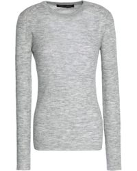 Proenza Schouler - Ribbed-knit Stretch-wool Top Light Grey - Lyst