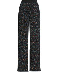 Maje - Pleated Printed Crepe Wide-leg Trousers - Lyst