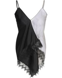 Vionnet - Asymmetric Lace-trimmed Two-tone Georgette And Silk-satin Top - Lyst