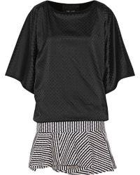 Jay Ahr - Studded Satin And Cotton-canvas Mini Dress - Lyst