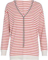 Brunello Cucinelli - Bead-embellished Striped Cashmere Hooded Jumper - Lyst