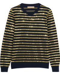 Michael Kors - Striped Sequined Cashmere Jumper - Lyst