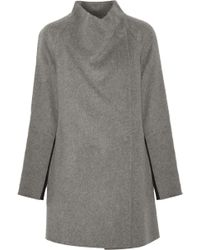Vince - Two-tone Brushed And Knitted Wool-blend Coat - Lyst