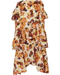 Ellery - Tiered Printed Crepe Midi Skirt - Lyst