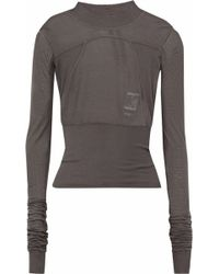 DRKSHDW by Rick Owens - Ribbed Knit-paneled Slub Cotton-jersey Top - Lyst