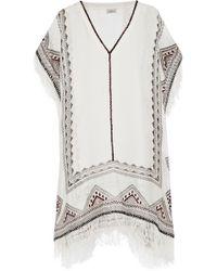 Talitha - Embroidered Silk-muslin Kaftan - Lyst