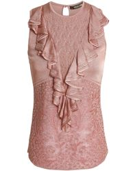 Roberto Cavalli - Woman Ruffle-trimmed Crochet-knit Top Antique Rose - Lyst