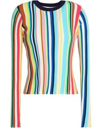 MILLY - Striped Ribbed- Knit Top - Lyst