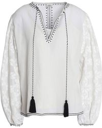 Talitha - Embroidered Cotton-voile Tunic - Lyst