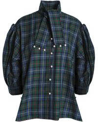 Opening Ceremony - Faux Pearl-embellished Checked Flannel Shirt - Lyst