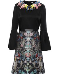 Mary Katrantzou Embellished Satin-crepe And Brocade Mini Dress Black - Negro