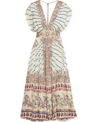 Etro - Pleated Printed Silk-satin Twill Maxi Dress - Lyst