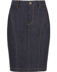 Burberry Brit - Stretch-denim Pencil Skirt - Lyst