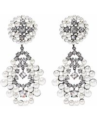 CZ by Kenneth Jay Lane - Gunmetal-tone, Faux Pearl And Crystal Earrings - Lyst