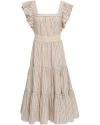 Love Sam - Woman Crochet-trimmed Ruffled Cotton-jacquard Midi Dress Off-white - Lyst