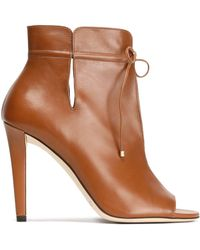 Jimmy Choo - Cutout Leather Ankle Boots Light Brown - Lyst