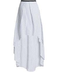 Brunello Cucinelli - Asymmetric Pinstriped Cotton-poplin Maxi Skirt - Lyst