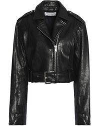 FRAME - Woman Cropped Leather Biker Jacket Black - Lyst