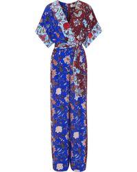 Diane von Furstenberg - Wrap-effect Belted Floral-print Silk Jumpsuit - Lyst