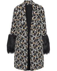 Anna Sui - Faux Fur-paneled Cotton-blend Jacquard Jacket - Lyst